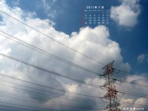 7月カレンダー付き壁紙4対3キューブ画面用