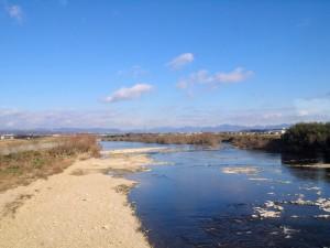 粟生線加古川橋梁より北を望む