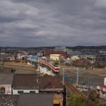 美嚢川橋梁を渡る粟生線電車