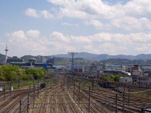 京都タワーと新幹線とC56