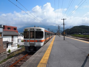 伊吹山をバックに近江長岡駅停車中の313系特別快速