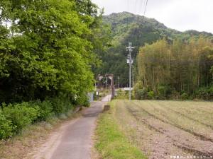 広田の吊り橋を望む