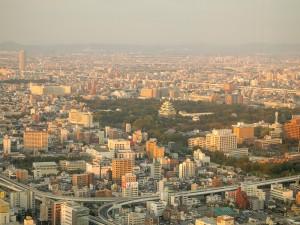 夕日に照らされる名古屋城